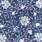 Longitude Batiks - Navy Floral Rayon Yardage