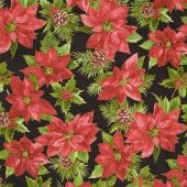 Glad Tidings - Poinsettias on Black Yardage