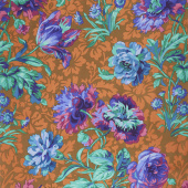 Kaffe Fassett Collective Spring 2018 - Dark Baroque Floral Blue  Yardage