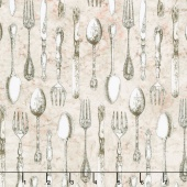 Afternoon Tea - Silverware Parchment Yardage