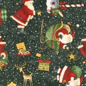Santa's Big Night - Santa's Big Night Toss Black Yardage