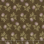 Clover Meadow - Puff Ball Floral Earth Brown Yardage