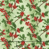 Merry, Berry, and Bright - Boughs of Holly Radiant Sage Metallic Yardage