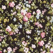 Wild Rose - Delicate Floral Black Flannel Yardage