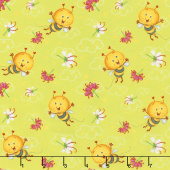 Busy Bees - Allover Bees Green Yardage