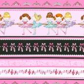 Bella-rina - Ballet Stripe Pink/Black Yardage