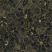Cardinal Song Metallic - Toile Ebony Yardage