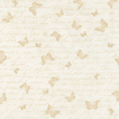 Garden Rose - Antique Butterfly Text Cream Yardage