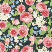 Farmhouse Rose - Flowers Black Yardage