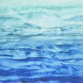 Gradients - Blue Watercolor Waves Blues & Greens Digitally Printed Yardage
