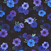 Misty - Allover Flowers Black Digitally Printed Yardage