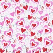 Hearts of Love - Hearts in Hearts White Multi Yardage