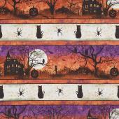 Frightful Night - Haunted Repeating Stripe Multi Yardage