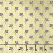 Mill Creek Garden - Wallpaper Stripe Flowers Ivory Green  Yardage