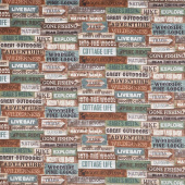 Outdoor Adventures - Signs Brown Multi Flannel Yardage
