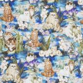 Be Pawsitive - Cats Garden Digitally Printed Yardage