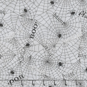 Bewitching - Webs & Words Wicked Grey Yardage