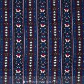 Small Wonders - World Piece Germany Floral Stripe  Blue Yardage