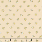 Eliza - Spaced Floral Latte Metallic Yardage