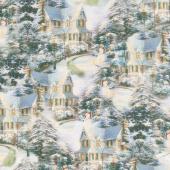 Thomas Kinkade - Night Before Christmas Allover Multi Digitally Printed Yardage