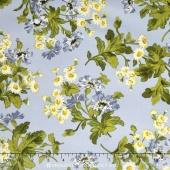 Poppies - Daisies Soft Blue Yardage