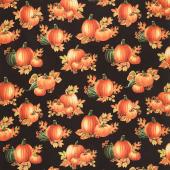 Autumn Elegance - Pumpkins Black Metallic Yardage