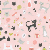 Designer Flannel - Meow Main In Color Pink Yardage