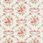 Rhapsody in Reds - Floral Damask Ivory Yardage