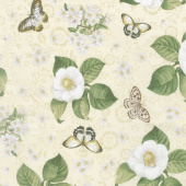 Chantrell - Magnolias and Butterflies Tan Yardage
