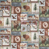 Outdoor Adventures - Outdoor Block Pattern Brown Multi Flannel Yardage