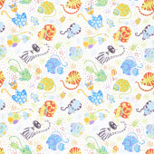 Catmosphere - Cats & Confetti White Yardage