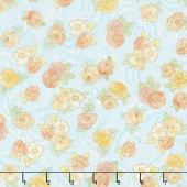 Alphonse Mucha - Flowers Blue Digitally Printed Yardage