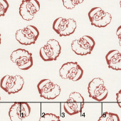 Winterberry - Santa Heads Cream Yardage
