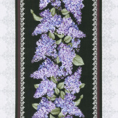 Lilacs in Bloom - Lilacs in Bloom Stripe Black Yardage
