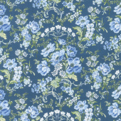 Gabrielle - Bouquet Flowers Blue Yardage
