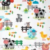 Funny Farm - Farm Scene White Yardage