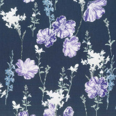 Violet Twilight - Twilight Pearl Garden Navy Purple Pearlized Yardage