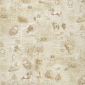 Leonardo Da Vinci - Pages Antique Digitally Printed Yardage