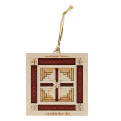 Quilt Ornament - Dark Red Log Cabin Star