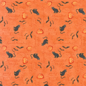 Haunted Night - Words Allover Orange Yardage