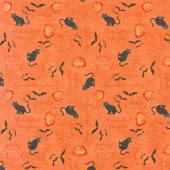 Haunted Night - Words Allover Orange Yardage