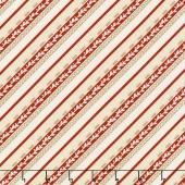 Plaid for the Holidays - Diagonal Stripe Ivory/Red Yardage