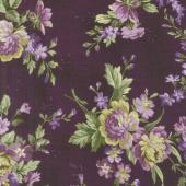 Aubergine - Elegant Floral Deep Aubergine Yardage
