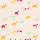 Best Friends Forever - Rainbow Ponies Light Pink Yardage