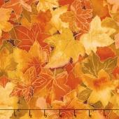 Autumn Air - Forest Floor Maple Metallic Yardage