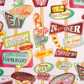 At the Diner - Packed Signs Pink Yardage
