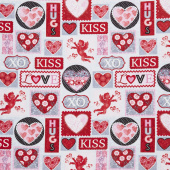Hearts of Love - Valentine Patch Pink Red Yardage