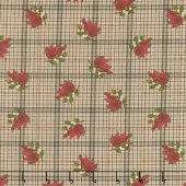 Another Moose Is Loose - Cardinal with Plaid Tan Yardage