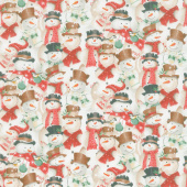 December Magic - Snowmen Ecru Yardage