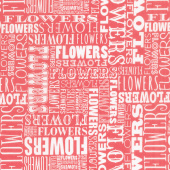 Cottage Joy - Flower Word Red Yardage